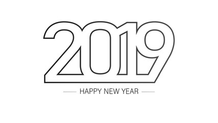 2019 Happy New Year Background with Black and White Colors.