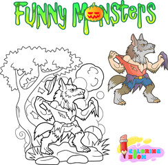 cartoon funny werewolf, halloween coloring book illustration