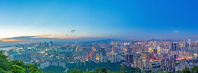Shenzhen city night panorama