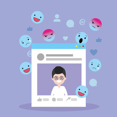 man website social media and emojis