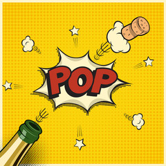 Vector holiday element in comic book or manga style. Champagne bottle with flying cork and Pop word.