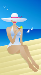 Pretty woman in a wide luxurious hat and white bikini. Beautiful female enjoys in tropical resort sitting on the beach with sea view and drinking cocktail. Flat vector art. Vacation travel poster.