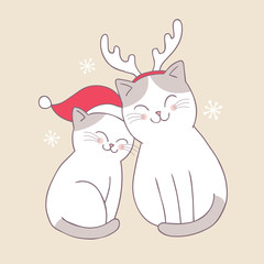Cartoon cute Christmas sweet cats vector.