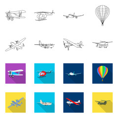 Vector design of plane and transport sign. Collection of plane and sky stock vector illustration.