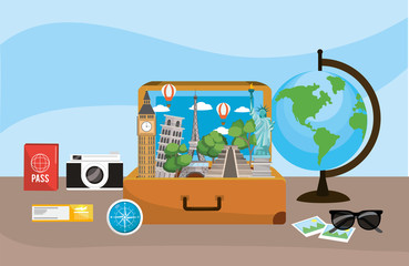 travel briefcase with global map destination