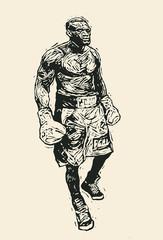 Boxer. Retro Engraving Linocut Style. Vector Illustration.