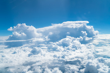 beautiful blue sky with cloud. Blue sky with clouds for background. Skyline View above the Clouds from air plane