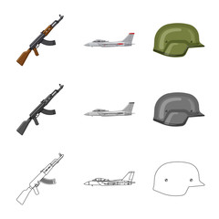Isolated object of weapon and gun logo. Set of weapon and army vector icon for stock.