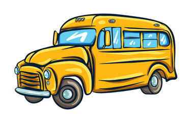 Yellow school bus. Vector illustration in cartoon style.