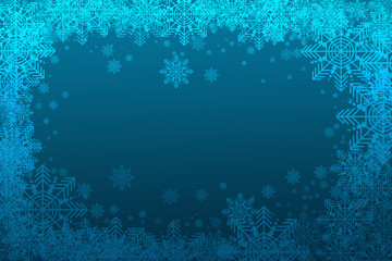 white snowflakes on a blue background