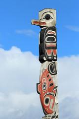 salmon and bird  motif totem pole, Icy Strait Point, Alaska, USA