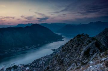 Sunset in Boka Kotorska view from Top of Kotor