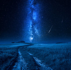 Fototapete - Milky way and falling stars over country road, Tuscany
