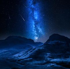 Fototapete - Milky way and falling stars in highland in Glencoe, Scotland