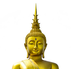 Golden Buddha statue from Thailand.isolated on white background,symbol of religion buddhism.design with copy space add text