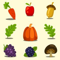 vector cartoon fancy isolated autumn fruit vegetable illustration template set