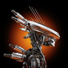Smart robot with huge ai hat, 3d rendering