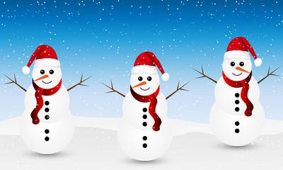Snowman in santa claus hat on winter background
