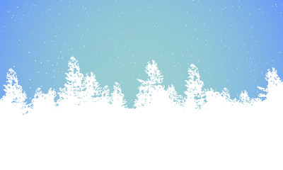 Winter background panorama of forest with fir trees