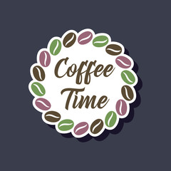paper sticker on stylish background bean Coffee time logo