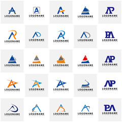 Set of AP Letter Logo Design with Creative Modern Trendy Typography, AR Letter Logo vector.