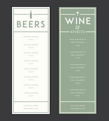 Bar and drinks vector menu template
