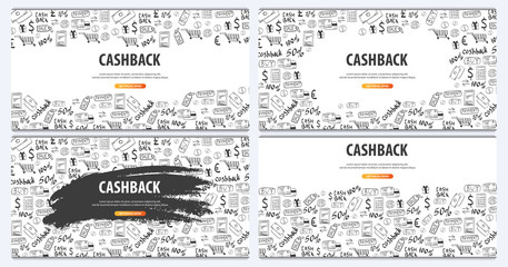 Set of Cashback service banners. Save your money. Hand Draw doodle background.