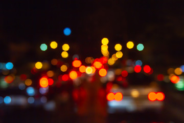 Blurred colorful bokeh background from traffic jam and street lighting. Bangkok Thailand