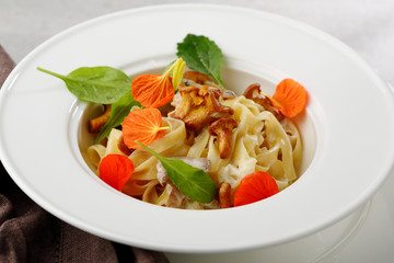 Fresh pasta with chanterelles