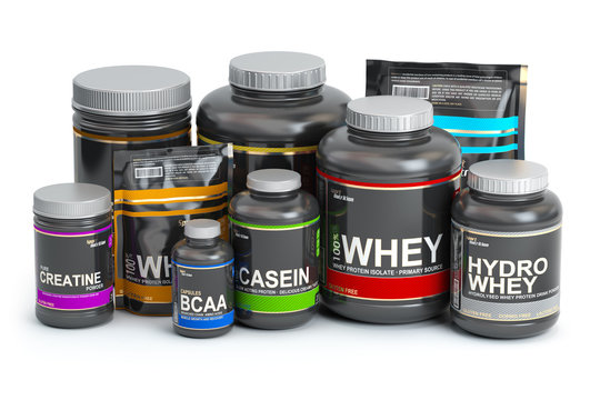Sports  nutrition (supplements) for bodybuilding. Whey protein casein, bcaa, creatine isolated on white background.