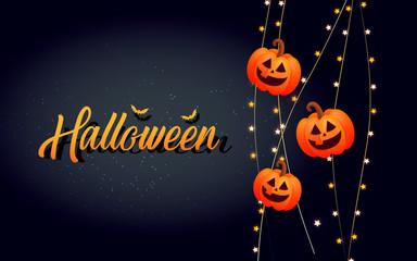 Happy Halloween calligraphy with pumpkins.
