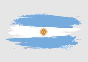 Brush Argentina national flag. Argentina flag isolated on white background. World flag. Vector stock.