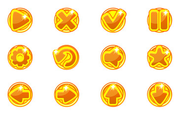 Vector golden circles collection set glass buttons for Ui