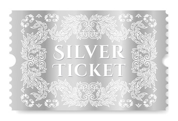 Silver ticket vector illustration. Template for Cinema pass, show, concert or any events invitation