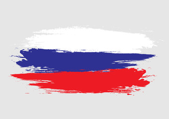 Brush Russian national flag. Russian flag isolated on white background. World flag. Vector stock.