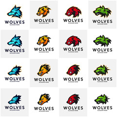 Set of Modern professional Wolf logo for a sport team. Wolf logo vector illustration.