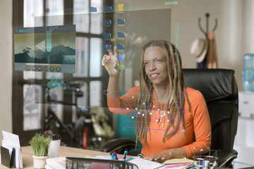 Professional Woman Operating a Futuristic Computer Screen