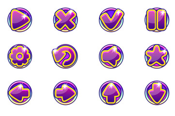 Vector purple circles collection set glass buttons for Ui