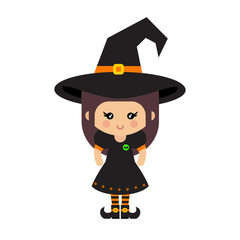 cartoon cute witch vector in hat