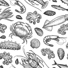 Seamless pattern with seafood and fish.