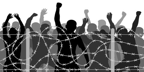 Crowd people behind barbed wire, vector silhouette. Migrants and refugee stand behind the barrier fence, protest demonstration. No passage