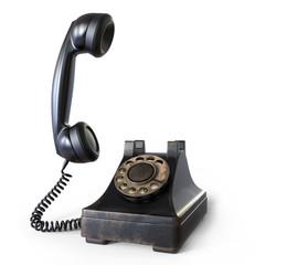 Retro black telephone 3D illustration