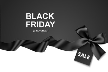 Wall Mural - Black Friday Sale design template. Vector illustration. Black background with bow,  horizontal ribbon and price tag