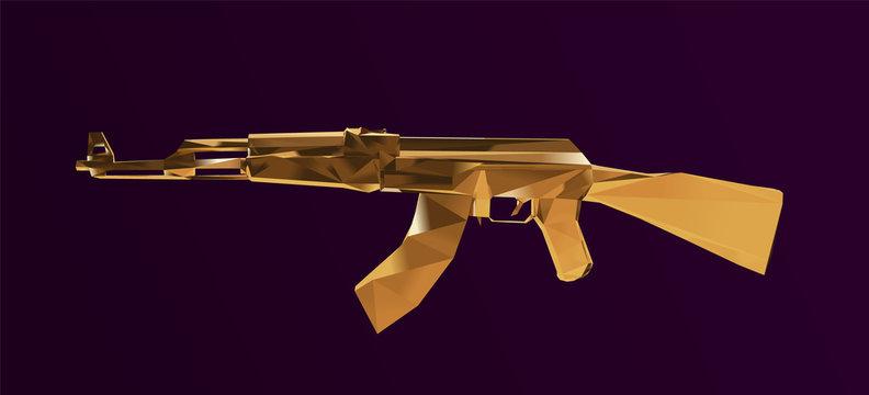 Gold Submachine Kalashnikov or AK47 Vector Illustration Low Poly 3D Rendering