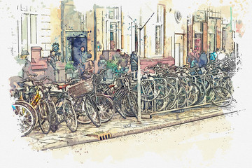 illustration or watercolor sketch. Lots of people and bikes on the street in Amsterdam. Everyday city life.