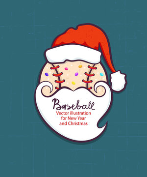 Christmas vector illustration for baseball. The ball in the hat is Santa Claus and with a beard. Element for design of card, flyer, party, print T-shirt. Cookies, sweet, cartoon. EPS file is layered.