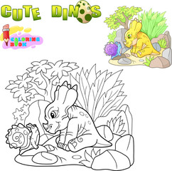 cartoon little cute dinosaur, funny illustration coloring book