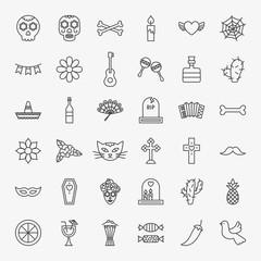 Dia De Los Muertos Line Icons Set