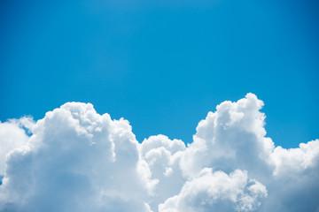 Keuken foto achterwand Hemel Beautiful pure white clouds on bright blue sky