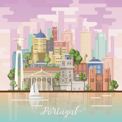 Portugal travel vector postcard in modern flat style with Lisbon buildings and portuguese souvenirs